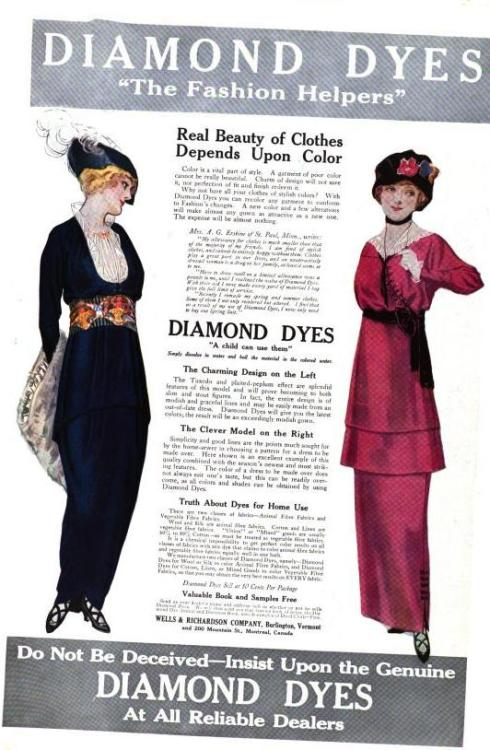 [image: an ad for Diamond Dyes, black copy  on white ground flanked by two women, one in dark blue with a frilly white shirt front, a peplum, and a garish sash, the other in fuschia with a dard sash and a double peplum, both wearing hats]