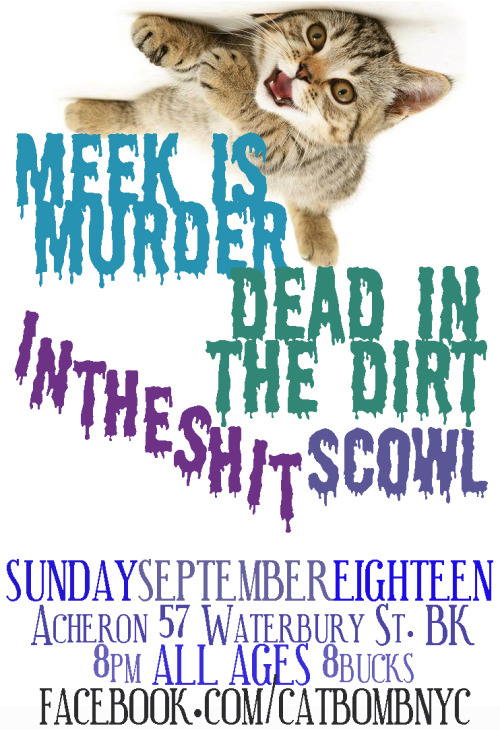 Flyer for Dead in the Dirt, Meek is Murder, InTheShit, Scowl @ Acheron on 9/18/11 Brooklyn New York, Catbomb show.