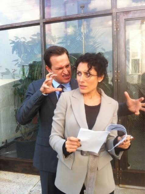 Lisa Edelstein and Josh Charles on the set of the new horror movie, The Good Wife.