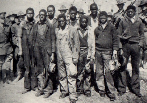 vintageblack2:  THE SCOTTSBORO BOYS In the 1930s, two white prostitutes falsely accused nine black men of gang-rape, in order to avoid facing other police charges. Click the link to read more about the Scottsboro trials.