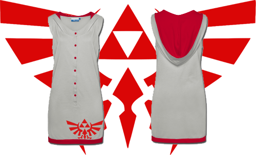 muchneededmerch:   NEW! Legend Of Zelda Hylian Crest Sleeveless Hooded Dress! Ladies, feel like a million rupees in this geektastic garb! Sizes S-L available.  Follow Much Needed Merch on Tumblr and or Facebook (10% off code)      If any of you ladies order it, I'll ship you an engagement ring, OKAY?