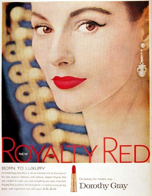 theniftyfifties:  1950s Dorothy Gray lipstick advertisement.