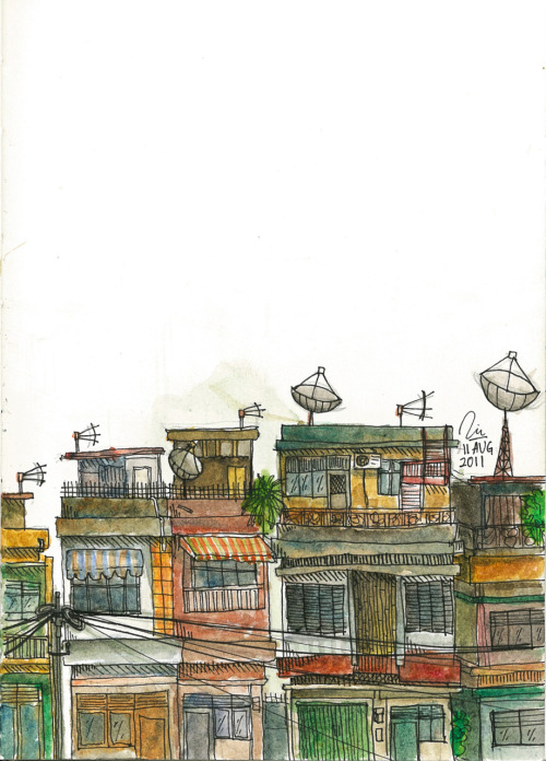 eatsleepdraw:  Shophouses In Palembang, Indonesia. :))
