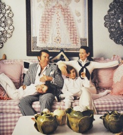 Wyatt Cooper and Gloria Vanderbilt at home with their sons, Anderson and Carter. Photographed by Jack Robinson for the June 1972 issue of Vogue.