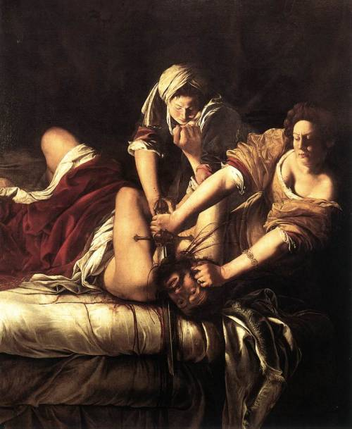 Judith, by Artemesia Gentileschi, a Roman painter in the early 1620s. Gentileschi was raped and actually prosecuted her rapist in court, and the trial went on for like seven months and she was verbally abused and harassed, she underwent a physical exam to prove her virginity, she was physically tortured to see if she was telling the truth, and her rapist was actually found guilty! But he was only sentenced to a few months of exile. Shortly after the trial, the church said she couldn't paint the Virgin Mary or any other religious depictions because they couldnt have someone who was raped painting things for the church. She then began painting things like this and in every painting she put the face of her rapist as the man being killed. Quick historical fact-check: this painting is called Judith Slaying Holofernes, and it's from c. 1611-1612.