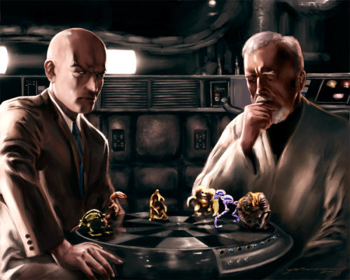 darthambiguous:  Professor Charles Francis Xavier Vs. Jedi Master Obi Wan Kenobi(Magnificent artwork by Jonathon Moore) Telepathy Versus The Force Two of the greatest minds ever known in geekdom WHO WILL WIN?