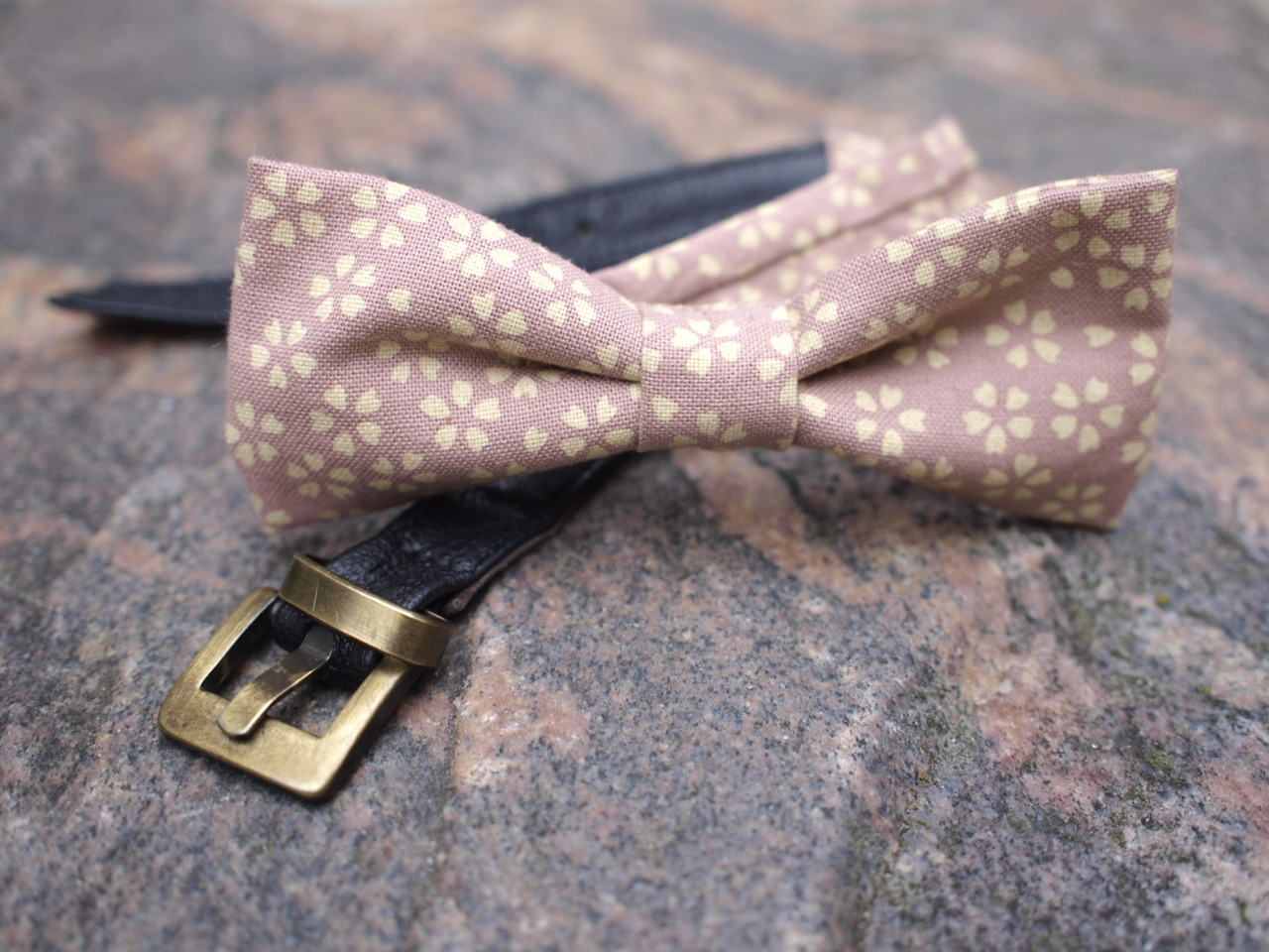 pre-tied BOW TIE made from  Kimono fabric and vintage leather belt to finished product. buy it on etsy