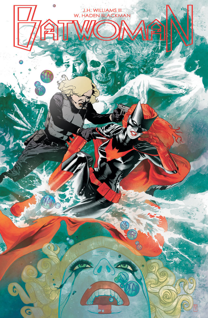 DC comics for November 2011: this is the cover to Batwoman #3 by JH Williams, who has been doing amazing work with the character. His art style is exquisite and his design sense is so vibrant.