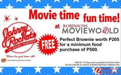 IT'S MOVIE TIME FUN TIME for everyone! We're giving away more freebies, this time from Johnny Rockets!!!☺☺☺