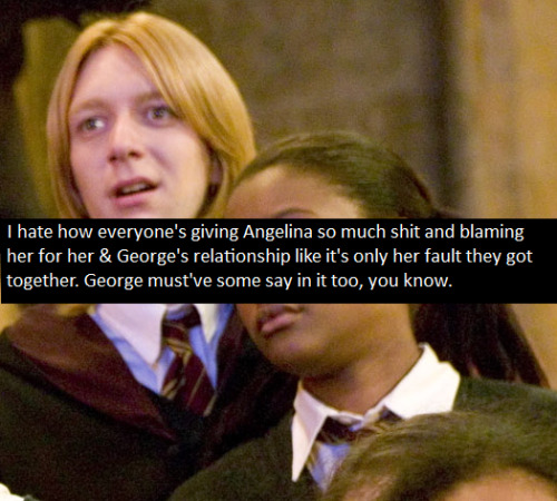 harrypotterconfessions:  graphic submitted  I'm still trying to figure out why it is so terrible for fandom to discover that the Weasley's have a thing for black people. I know they race switched Lavender at the last minute, but it was pretty clear in the books that George liked Angelina, Ginny liked Dean, & Ron liked Lavender for at least a little while. Despite how the ending was written, most people don't meet their future spouse at 11.