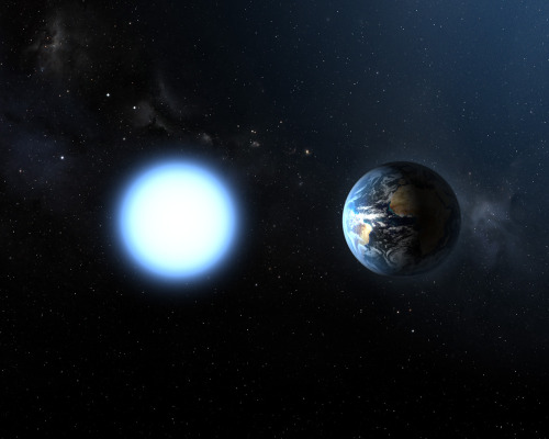 invaderxan:  Size comparison of Earth next to Sirius B (a white dwarf star).