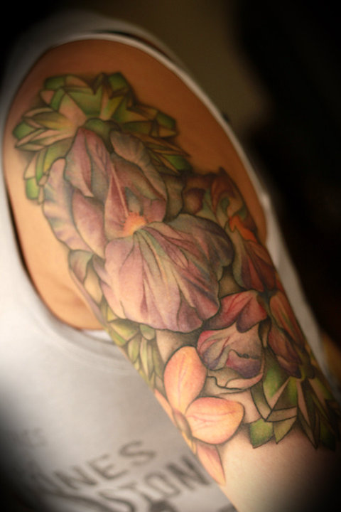 tattoome:  Half sleeve done by the amazing Amanda Leadman at Smart Bomb Tattoo in Dayton, OH. She has since moved to Philly and is working at a shop up there. Picked all the flowers out myself based on their meanings and let her have free reign with it after that. I absolutely love it and get lots of compliments on it. Link to: http://anchoredx.tumblr.com/