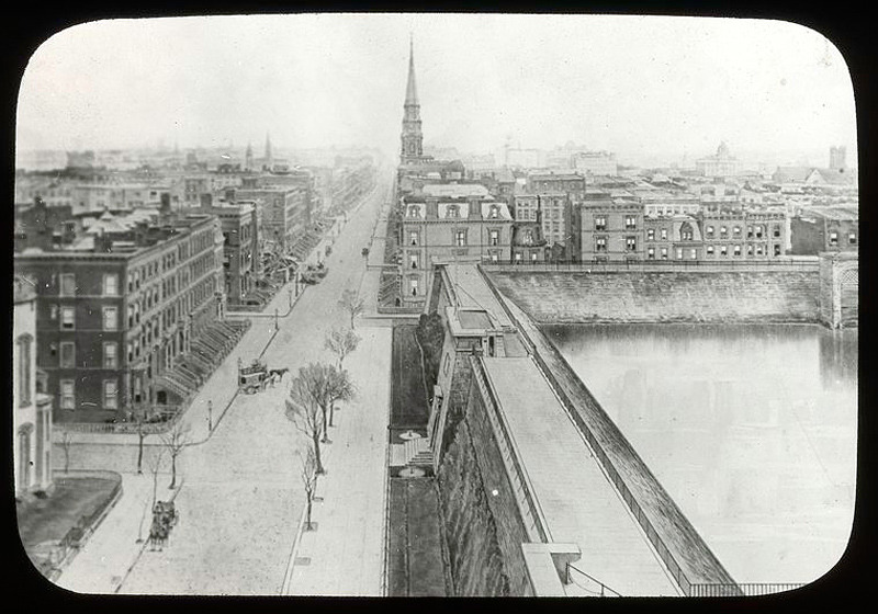 buzz:  Croton Reservoir, Fifth Avenue, Looking South, 1879 (via -outlying-, NYPL) Current site of Bryant Park and the New York Public Library. I love the Greek/Roman-esque grandiosity of old water works buildings (see also: the Bay Area's Sunol Water Temple).