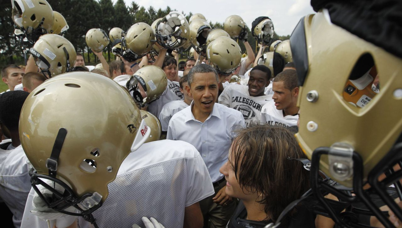 "nationalpostsports:  Obama: ""Clear eyes, full hearts, CAN'T LOSE!""OK, fine, he is chanting ""Win the day"" with the Silver Streaks football team at Galesburg High School in Illinois, a stop during his Midwest trip. Jason Reed/Reuters"