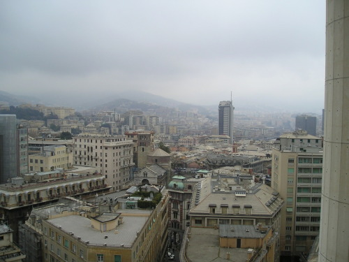 "The view - Genova from above - This is my city.  [From now on I'm going to post some of my pictures. I took this one in 2004, I was at my ""cram school"", waiting for my teacher]"
