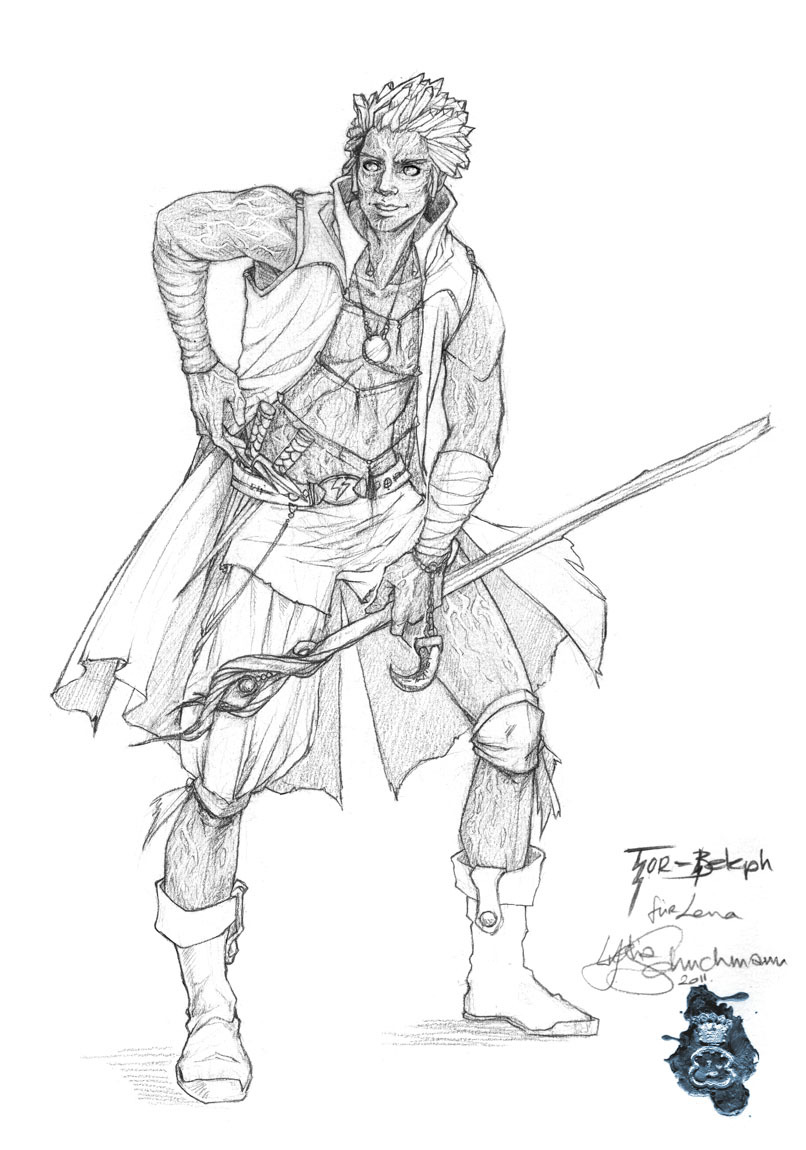 ^_^ There he is!!! My D&D Character drawn by the very talented artist Lydia Schuchmann. He is a Genasi Sorcerer and I have a lot of fun playing him. Please look at more of Lydia Schuchmann's beautiful artwork: finished artwork sketches and linearts