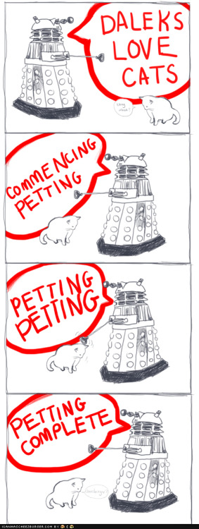 lol! rt-hon-harry-koschei-saxon:  thedailydingo411:  Dalek likes cats  Why is this so funny?