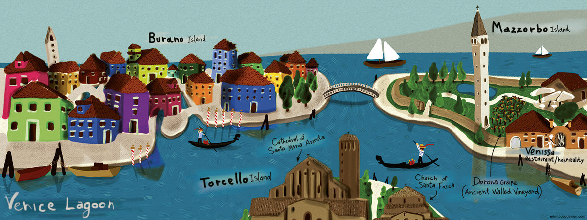 Venice Lagoon by MimiCocoDesign More at They Draw and Travel: maps illustrated by artists from around the world