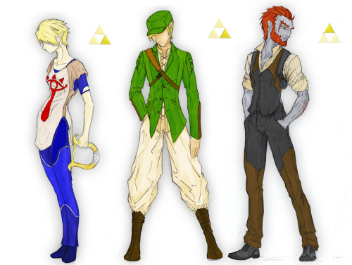 volantedesign:  The Triforce. I figured it was worth putting the 3 together, especially since I've now done a full color version of Ganondorf. I think I'll be uploading more full color versions, now that I've finally replaced my old and broken pen tablet.