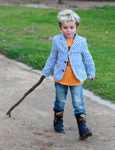 Hipster Toddler walks softly and carries a big stick.