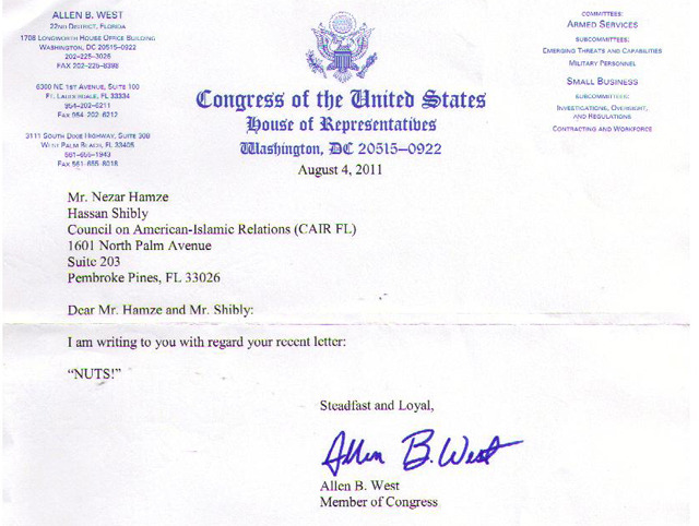 "motherjones:  The Miami New-Times says  that this letter, from Rep. Allen West (R-Fla.) to the Florida chapter  of the Council of American-Islamic Relations ""might be the dumbest thing  ever written on congressional stationery""—which is a serious charge in a  legislative body that also includes Joe Barton. Full context here."