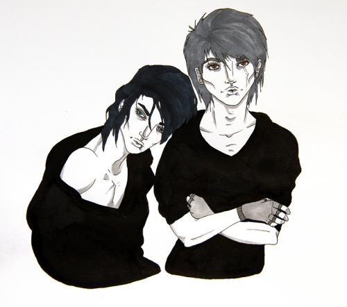 matt & atticus, done with copic, pen, and sumi ink