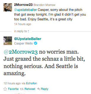 phatjesus:  Casper Wells of the Seattle Mariners got hit by a pitch that grazed his shoulder then hit his nose on Wednesday night. The pitcher, Brandon Morrow, who threw the pitch apologized to Casper Wells via Twitter. Casper Wells accepted his apology.  didnt think this would get this many notes