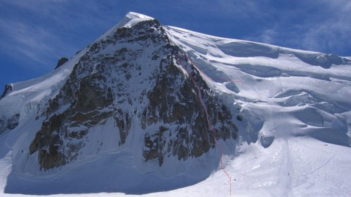 "Aug 18th.  Climbed this route on the Triangle on Mont Blanc du Tacul with Mike Powers.  The route is called ""Goulotte Chere"".  Good conditions today.  This is a big ice route.  Almost no rock climbing.  Nice climbing!"