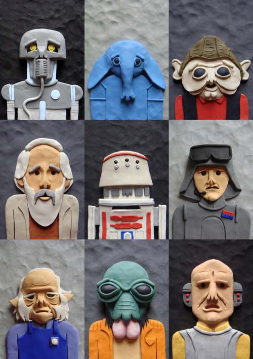 Tatooine characters done in modeling clay by Elliott Quince