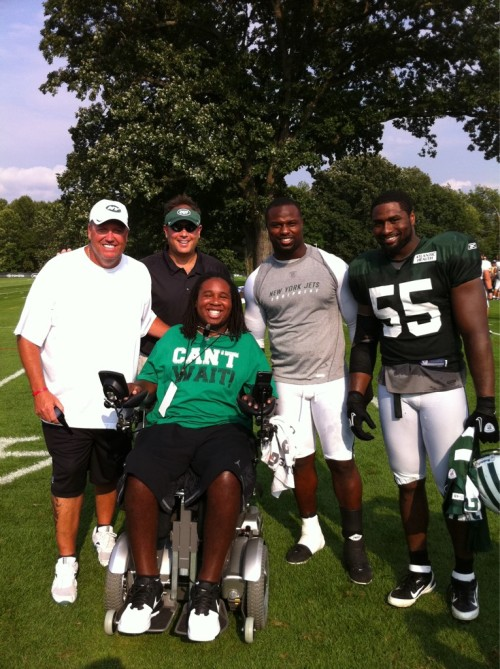 2minutedrill:  Eric LeGrand visited Jets Camp today.