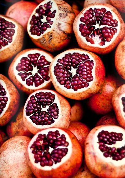 My Bohemian Menu Pomegranates, a potent symbol in many myths and religions, symbolize life and death, fertility and marriage, abundance and prosperity, and rebirth and eternal life. And, of course, they're delicious!