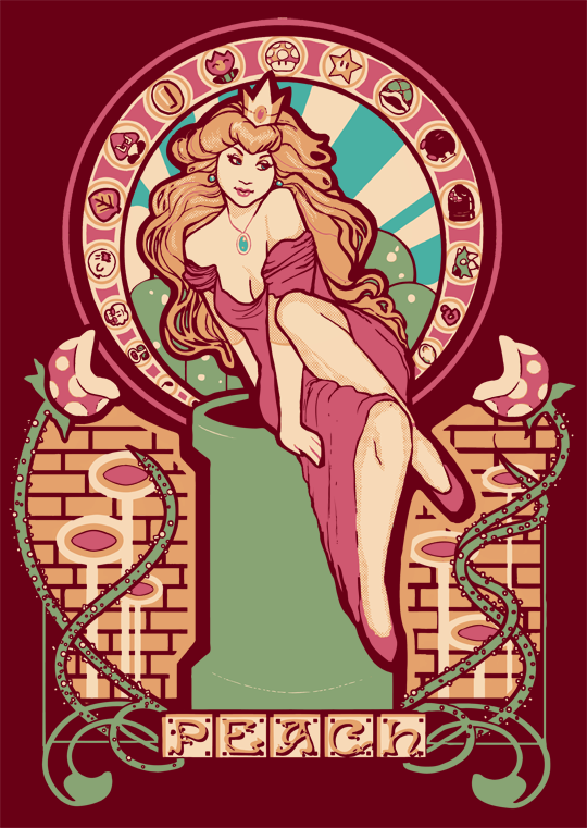 honey-pot:   Female Characters - Nouveau / by Megan Larat-shirts available here Artist: website / tumblr / deviantART   I NEED THE SAMUS SHIRT   The Samus one is pretty fantastic