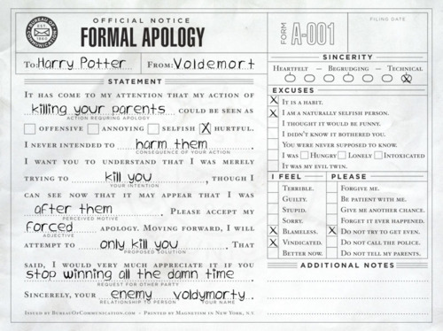 Voldemort tries out the Bureau of Communication's formal apology template