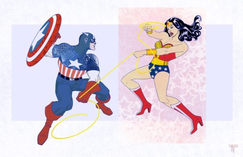 lulubonanza:  Drawn By Tommy Tejeda  My money's on pre-Crisis Diana —she's heel kick Rogers' A in!