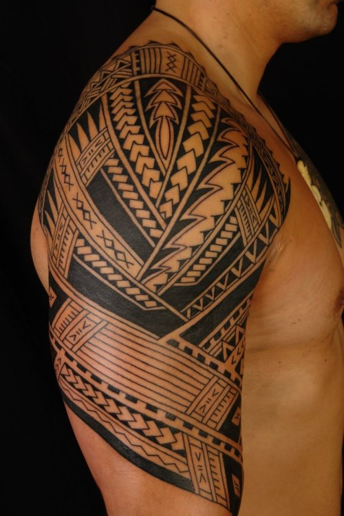 Polynesian sleeve (start of) by Shane Gallagher, Chapel Tattoo, Melbourne, Australia.