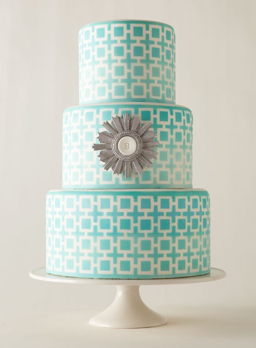 bride2be:  love this geometric pattern, tiffany blue wedding cake