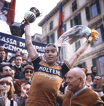"cycleboredom:  coolgips:  HALL OF FAME - ""The Cannibal"" Eddy Merckx  Totally in love with the trophy girl. For realz."