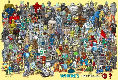 justinrampage:  Try your luck at digging through this amazing display of famous robots to find the lone Wall-E. Artist Richard Sargent helped bring back tons of memories. Check out the full size image here. (Cheat Sheet) Where's Wall-E? by Richard Sargent Via: laughingsquid