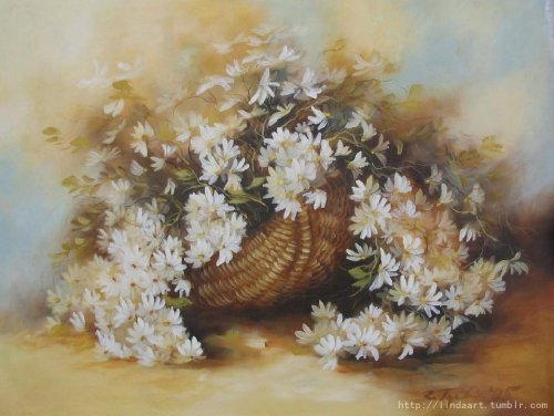 A Basket of Flowers  —By R.T 2005 His flower painting is vivid, lithe. It seems like a group of butterflies gathering around the basket.   A basket of flowers, oil on canvas, (If you are interest in it, inquiry price at xiamen1986@gmail.com)
