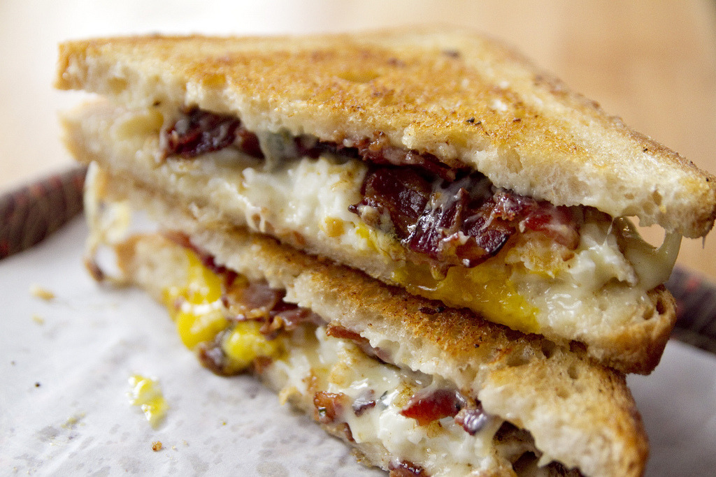 Breakfast grilled cheese with bacon and eggs