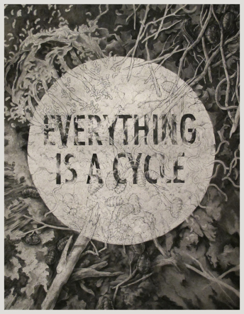weandthecolor:  Everything Is A Cycle Charcoal on paper artwork by Teagan White. More graphic art inspiration. posted byW.A.T.C. // Facebook // Twitter // Google+