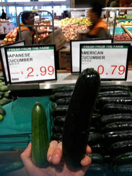 Asian cucumbers may be half the size but taste better, because americans uses those chemical crap to enhance the size.  Quality over quantity.  always.
