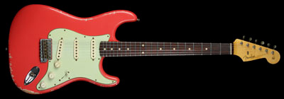 60's Relic Stratocater, Fiesta Red.  Early 60's C neck, 6105 frets, 9.5 radius, Custom Shop Fat 50's pickups I want it so bad, it's drivin' me mad, drivin me mad.