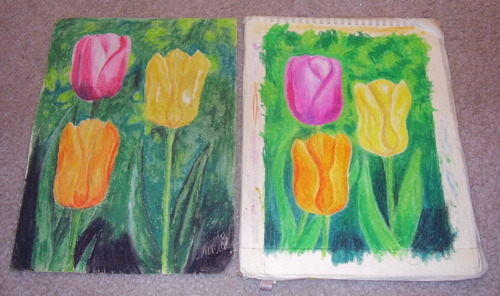 Tulips: 2011. 35 years separate these two drawings. The one on the left I created at age 15 in 1976. The one on the right I recreated this Friday morning using my new Mungyo oil pastels (blue box). I realized I've always liked the composition, plus the colors are fun and remind me of a Moroccan lantern set I saw at Pier 1 Imports recently, even though I came up with the idea 3 decades ago. I think I will see if someone else thinks so. I'll remove the masking tape and sign it. But now, to bed.
