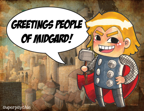superpsychie:  GREETINGS PEOPLE OF MIDGARD! ♥ I have finally made this blog after so many months of planning and hesitating. Basically, this blog will contain tons of reblogs of Marvel related stuff most especilly….*drum rolls*…THOR! haha :D also, random comics which I constantly upload and keep flooding my personal blog. haha :D and yes I do like DC as well :) thaanks for the follow! ♥  GO VISIT MY MARVEL BLOG! :D www.superpsychie.tumblr.com