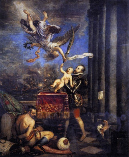"3rdofmay:  The art: Titian and studio, Allegory of the Battle of Lepanto or Following Victory at Lepanto, Felipe II offers Prince Fernando to Heaven, 1572-75. The news: ""The Major Roadblock to Muslim Assimilation in Europe,"" by Shadi Hamid for TheAtlantic.com. The source: Collection of the Prado, Madrid. To see a larger version of the painting, click here and then click on the painting to enlarge. Art + historical note: The painting shows Spain's Philip II offering his infant son up to an angel who hands him the palm branch of martyrdom. On the palm leaf is written ""Greater triumphs await you.""  The painting was commissioned by Philip II as a celebration of Christian Europe's victory over the Ottoman Turks at the Battle of Lepanto in 1571, a naval battle which effectively repelled a Muslim advance into the Mediterranean Sea's shipping lanes and into Catholic Europe as a whole. Titian also referred to the Catholic victory by including a scene from the battle in the background of the painting and by placing a bound and humiliated Muslim fighter, his turban fallen to the ground, in the lower left."