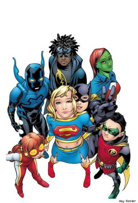 cubsmagicnumber:  dcu:  Comics Alliance: Supergirl and the Teen Titans by Amy Reeder  Teen Titans with Jaime and Irey??  Yes please!  This would be the most adorable team ever. They would defeat bad guys with sheer adorableness. Well, and Damian's appalling manners.