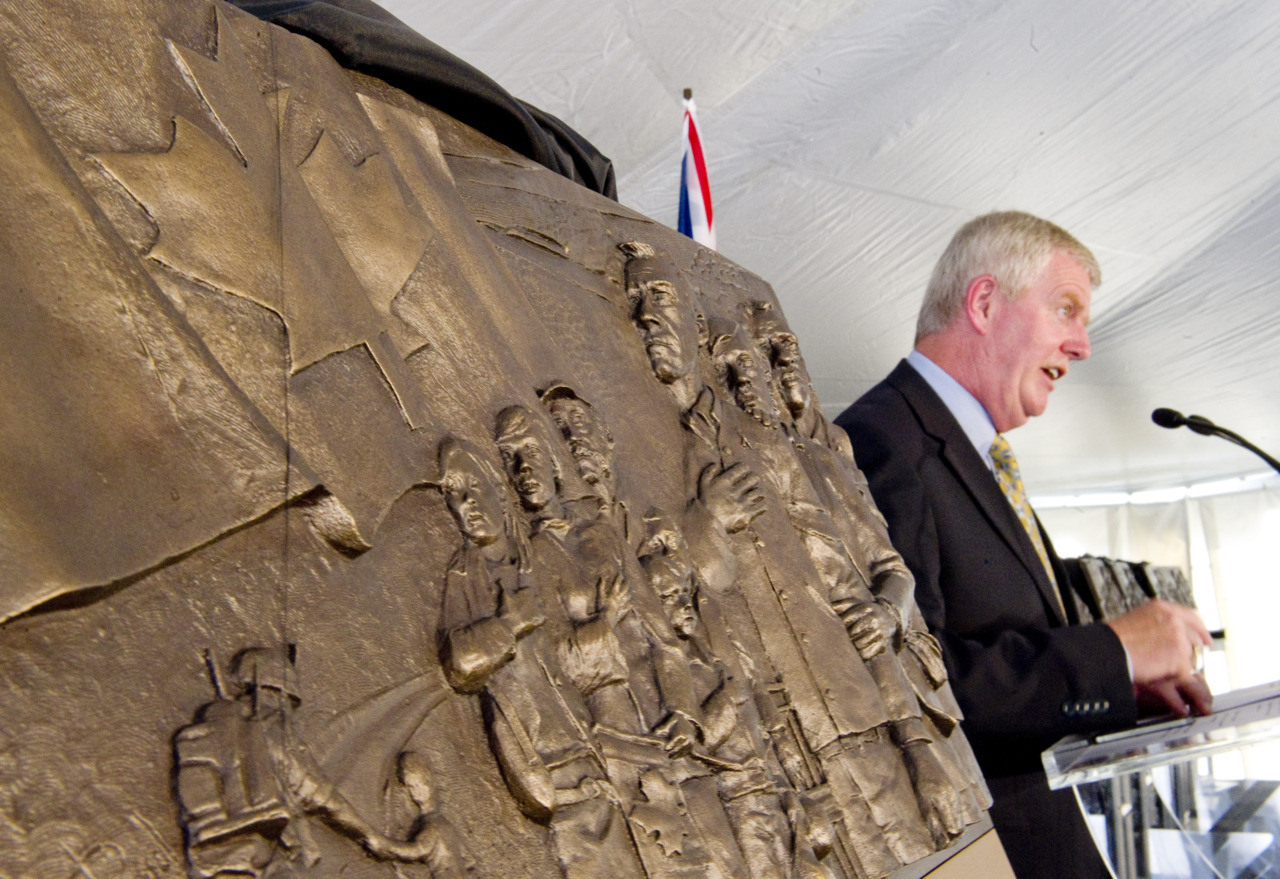 "Bronze plaques to line Ontario's 'Highway of Heroes'The sacrifices made by members of the Canadian military and their families are being honoured with 26 bronze commemorative plaques that will be placed at intervals along the Highway of Heroes, which runs from Trenton, Ont., to Toronto.""I enjoy the thought that I could be driving down the Highway of Heroes and see the plaques,"" said Sergeant Cameron Laidlaw, 33, of the Royal Canadian Regiment. ""It shows an appreciation to every military member. It's good recognition from everyday people.""The Highway of Heroes is the additional name for the stretch of Highway 401 that runs between CFB Trenton and Toronto. The bodies of fallen soldiers, upon being returned to Canada, are driven along this highway from the base to the coroner's office in Toronto. (Tyler Anderson/National Post)"