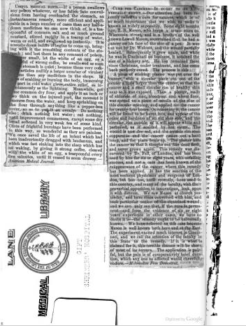 "Newspaper clipping pasted into front endpaper, digitized; topics include ""useful medical hints"" and (remarkably!) a ""cure for cancers"". Donation bookplate placed sideways to accommodate clippings. From front matter of Homœopathic Domestic Practice by Egbert Guernsey (1857). [Here]"