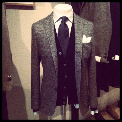 Boglioli jacket, Zanone cardigan, MCR shirt, Bigi tie & Drakes handkerchief (Taken with Instagram at Trunk Clothiers)